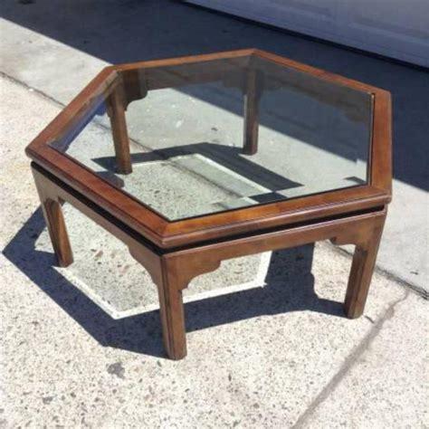 vintage ethan allen coffee table ethan allen vintage hexagon coffee table w glass