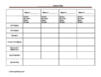 Monthly Preschool Lesson Plan Template By Katey S Child Care Resources Lesson Plan Template For Child Care