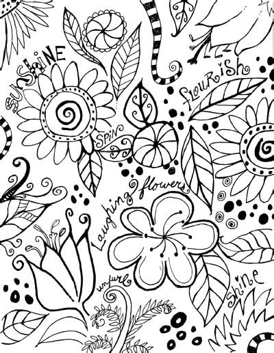 flower doodle coloring pages flowers leaves doodles black white