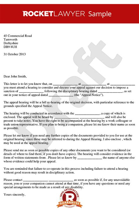 Employment Warning Letter Uk Poor Performance Appeal Hearing Letter Notice Of Poor Performance Appeal