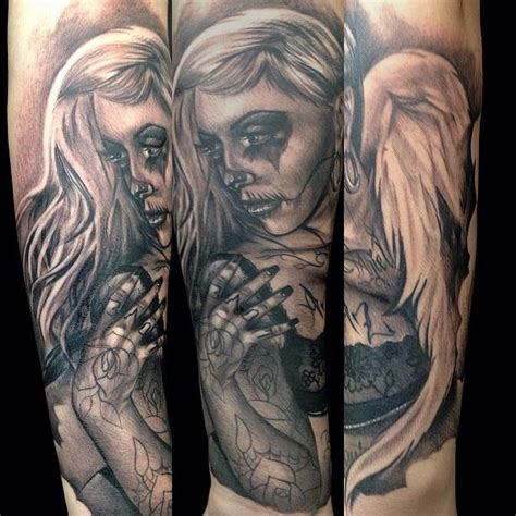 tattoo angel skull angel skull girl tattoo by big gus amazing artist big