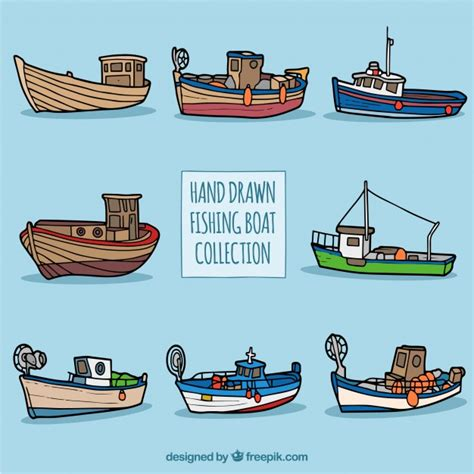 fishing boat vector collection of hand drawn fishing boats vector free download
