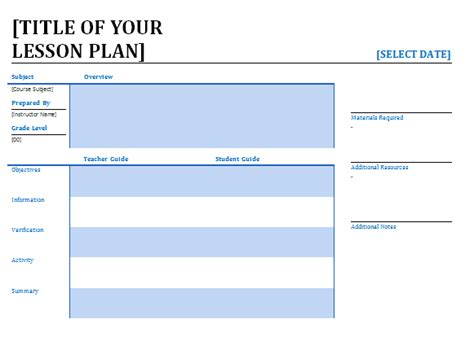 lesson plan template word lesson plans for teachers lessonplans4teachers
