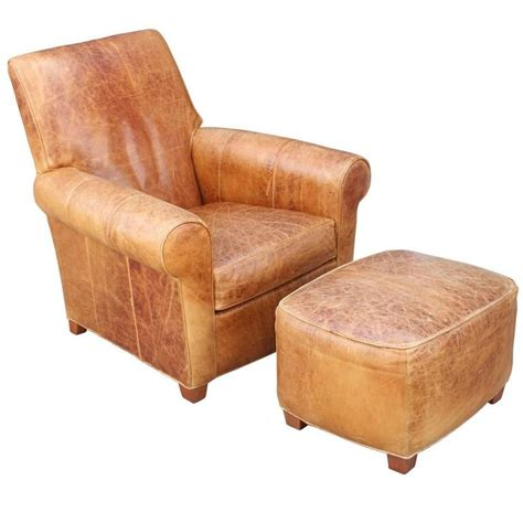 brown leather chair and ottoman modern french art deco style light brown leather lounge