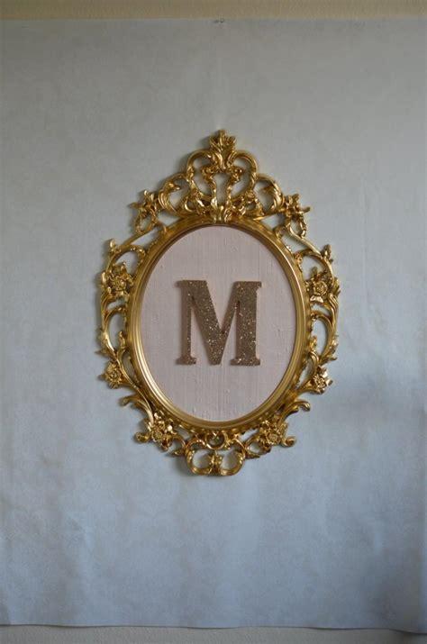 Blush On 3d Silky Seri 2 large oval framed letter gold baroque frame blush pink silk background and glitter letter