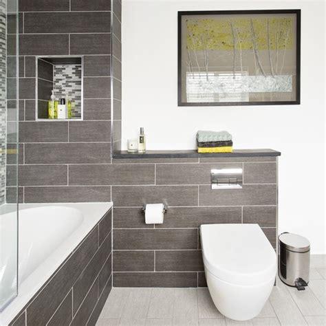 modern bathroom tiling modern bathroom with grey tiling and artwork housetohome