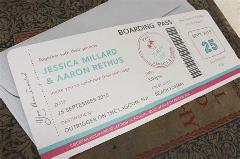 Wedding Invitation Boarding Pass by Tropical Palm Tree Boarding Pass Wedding Invitation Figi