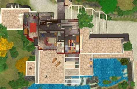 fallingwater house second floor block in architecture mod the sims frank lloyd wright s quot fallingwater quot