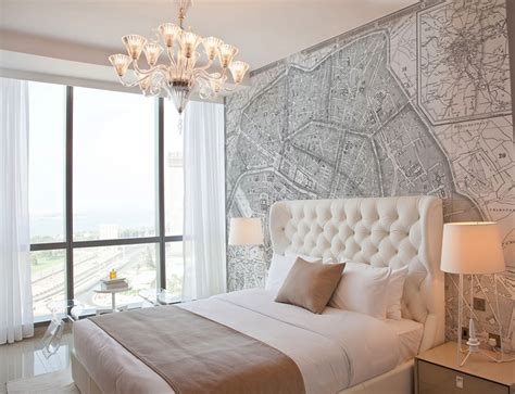 french style bedroom wallpaper vintage french map mural contemporary bedroom