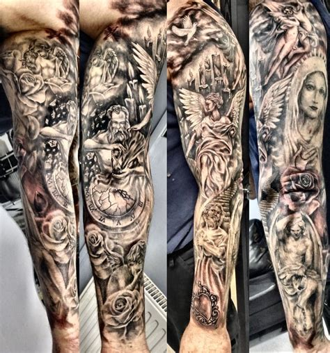 english cross tattoos religious sleeve by justyna kurzelowska tattoos