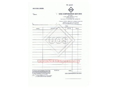 order business letterhead printing bill book uos corporation