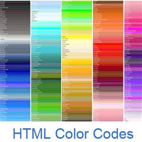 cod color html color codes color names and color chart with all