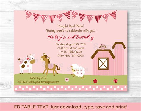 printable farm animal birthday invitations pink farm animals printable birthday invitation editable