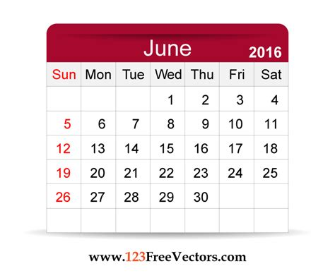 printable monthly calendar that can be edited download free vector 2016 calendar june printable template