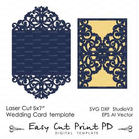 free card template svg wedding invitation pattern card template lace folds studio