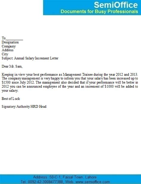 Pay Raise Letter Subject salary increase notification letter sle for employees