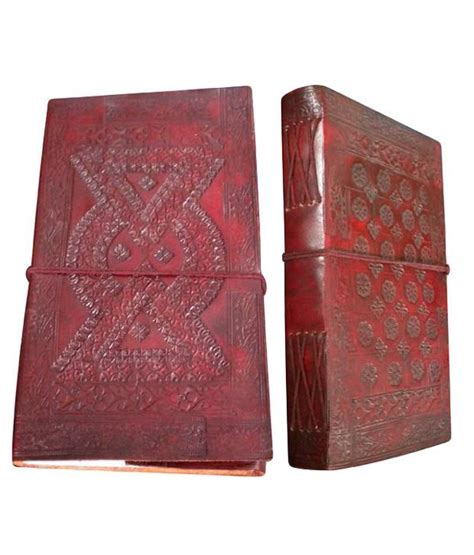Handmade Leather Diary - handmade leather cover diary geometrical design embossed