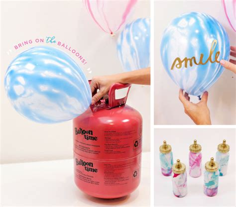Marbled baby shower balloons amp weights
