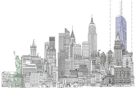 New Drawing 11 X 17 Line Drawing Of New York City Skyline With Statue Of