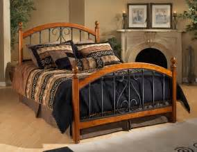 King Size Bed Metal Hillsdale Burton Way Cherry Wood And Black Metal Bed In