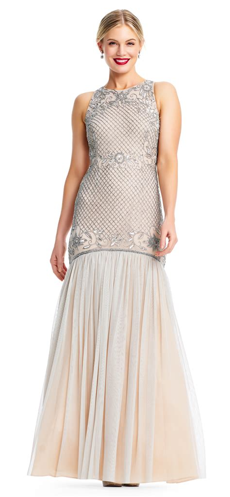 beaded tulle gown floral grid beaded trumpet gown with tulle skirt
