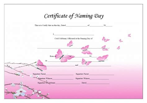 naming certificates free templates naming day celebrant
