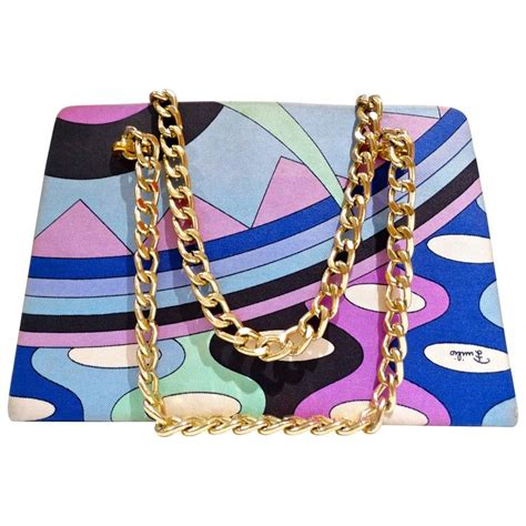 Pucci Chain Link Silk Purse by 1960s Emilio Pucci Mod Print Chain Handbag For Sale