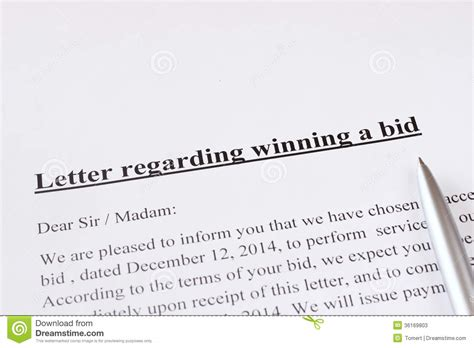 bid and win letter regarding winning a bid or auction business or