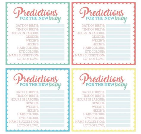 baby shower prediction cards template free printable baby shower prediction cards