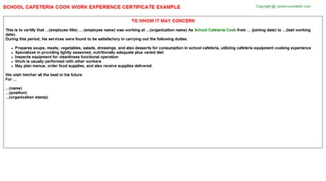 Work Experience Letter Format In Marathi School Cafeteria Cook Work Experience Certificate