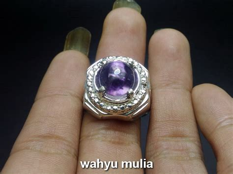 Batu Akik Gambar Bintang dijual cincin batu kecubung ungu ametis bungur tanjung