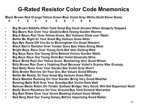 resistor value acronym resistor value mnemonic 28 images list of electronic color code mnemonics 301 moved