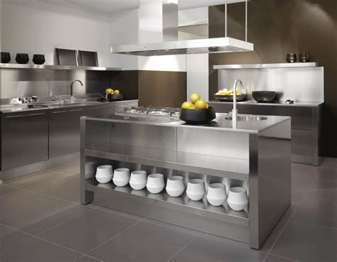Metal Kitchen Furniture by Stainless Steel Kitchen Designs