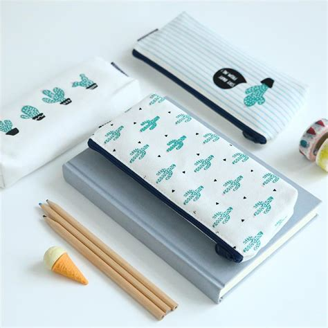 Kotak Pensil Kawai Cat kotak pensil kawaii cactus white green jakartanotebook