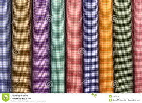 square pattern fabric name tubes of colorful square patterned fabrics royalty free