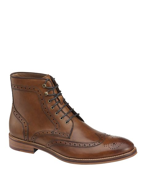 johnston and murphy mens boots johnston murphy conard leather wingtip boots in brown