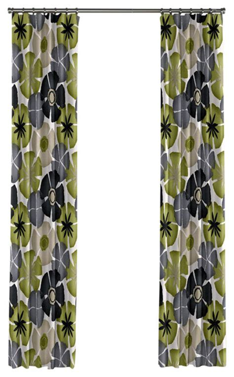 green and gray curtains shop houzz loom decor gray and green floral citrus