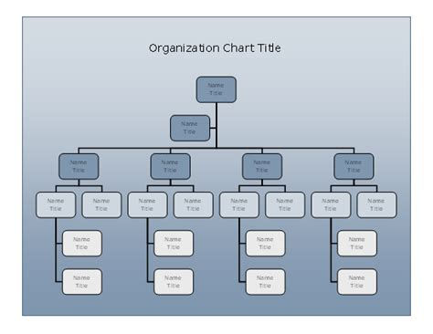 Company Organizational Chart Blue Gradient Design Business Charts Templates Organization Chart Design Template