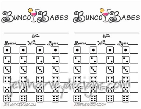 free bunco score card templates bunco bunco score sheet