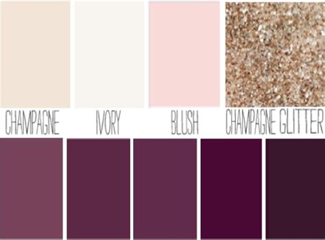 colors that look with gold blush plum ivory chagne sparkle wedding color