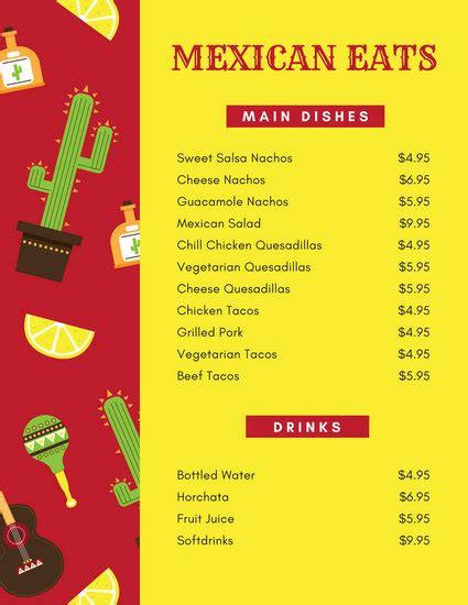 canva restaurant menu mexican menu templates canva