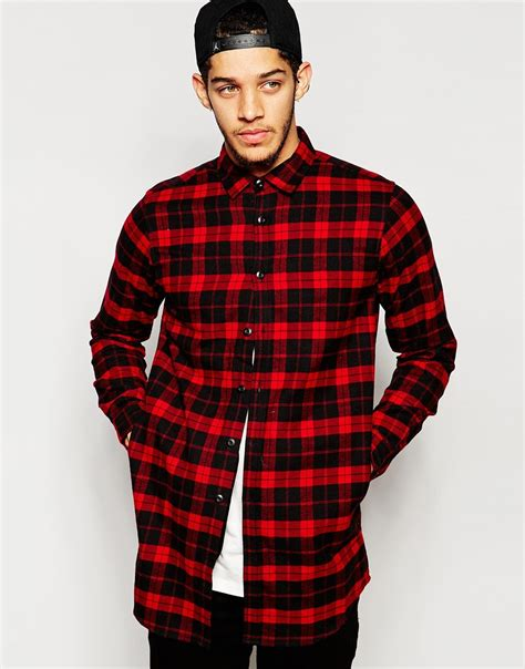 Mens Shirt Izzue lyst izzue longline flannel check la shirt in for