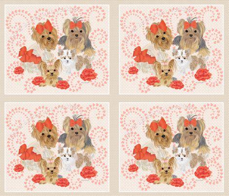 yorkie quilt yorkie pip pillow quilt panel fabric sherry savannah spoonflower