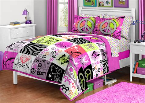 2pc unique peace signs twin comforter set bright hippie
