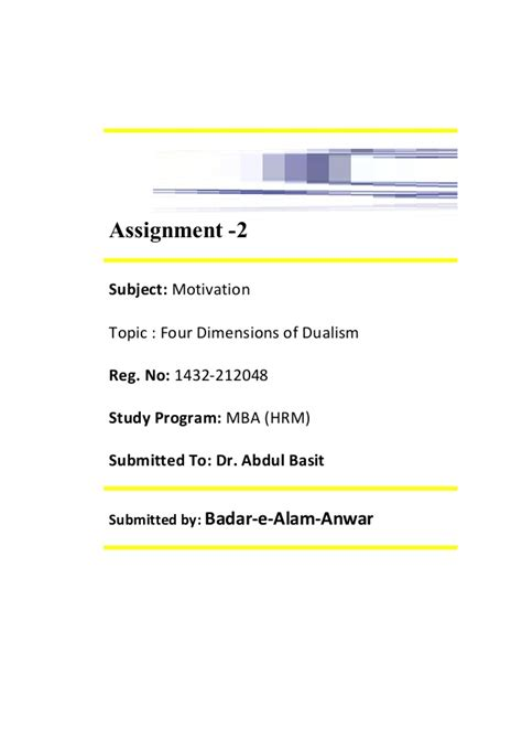 Motivation Assignment Mba by Assignment 2 Motivation