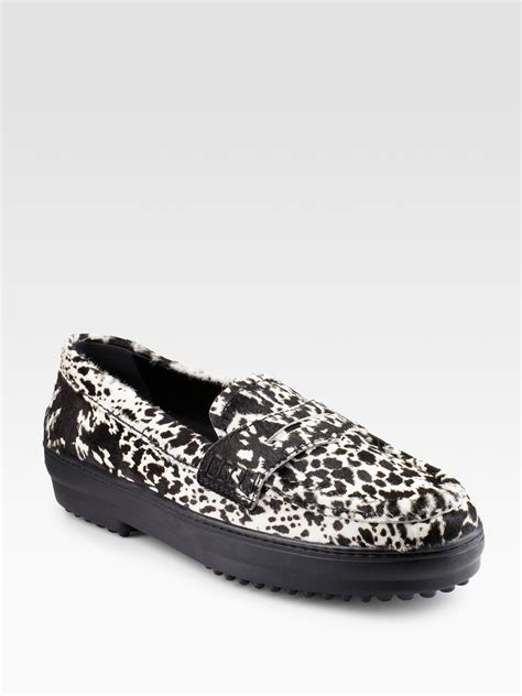 pony hair loafers lyst tod s gommini leopardprint pony hair loafers in white