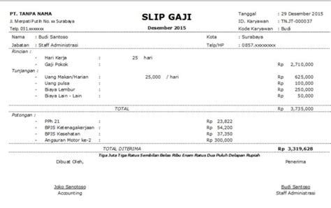 contoh slip gaji karyawan resmi contoh slip gaji karyawan swasta lengkap beserta format