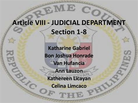 department of legal affairs judicial section article viii judicial department sections 1 to 8