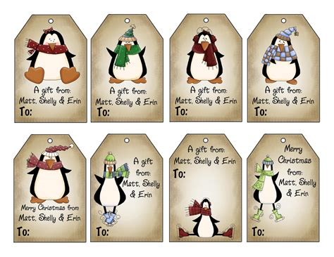 printable personalized winter penguins christmas gift tag set