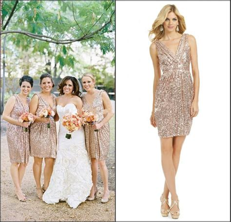martini chagne rose short gold sequin bridesmaids dresses 2015 short gold